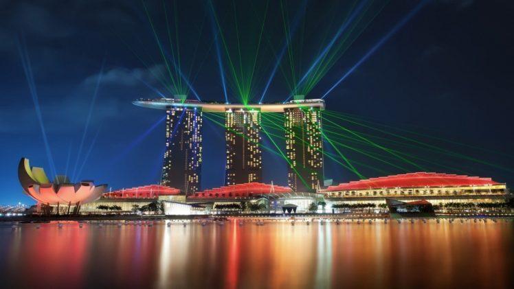 cityscape, Marina Bay, Lasers, Spotlights, Building HD Wallpaper Desktop Background