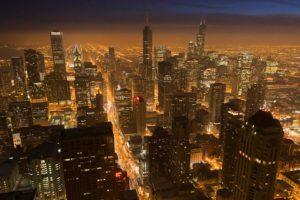 cityscape, Skyscraper, Lights, Night, Aerial view