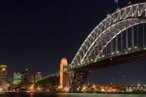 night, City, Bridge, Sydney Harbour Bridge, Triple screen