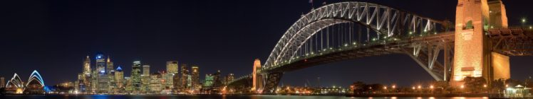 Night City Bridge Sydney Harbour Bridge Triple Screen Hd