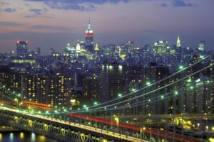 city, Cityscape, Bridge, Night, Manhattan, Manhattan Bridge