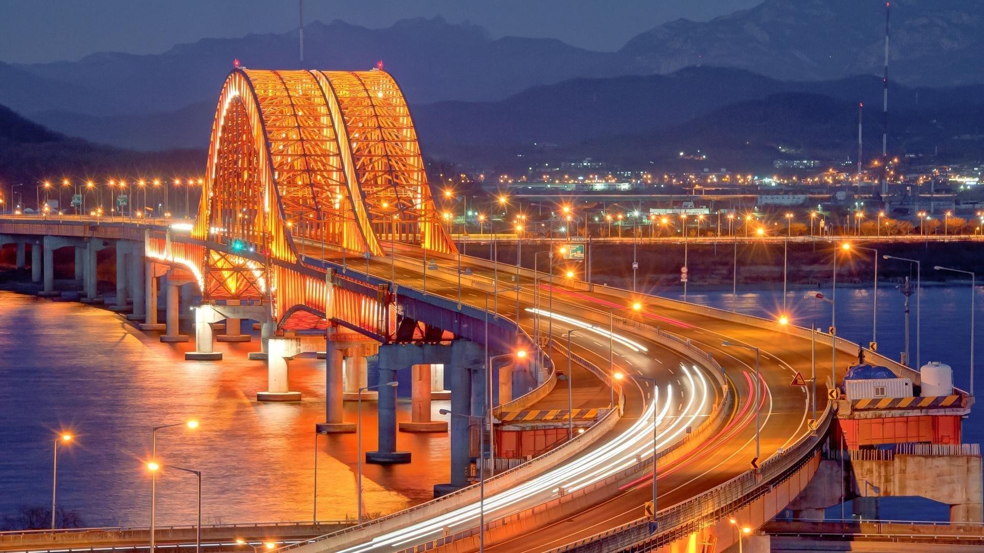 city, Cityscape, Bridge, Night Wallpaper