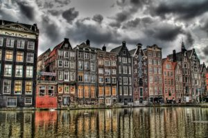 Amsterdam, HDR, Europe, Netherlands, Old building, Canal, Overcast, City, Building, Architecture