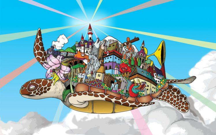 psychedelic, Colorful, Turtle, Windows 7 HD Wallpaper Desktop Background