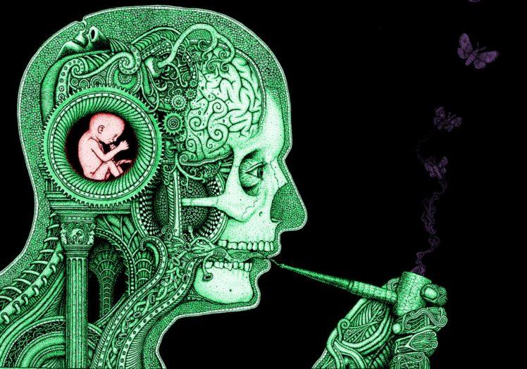 clockwork, Baby, Science, Smoking, Butterfly, Skull, Gears HD Wallpaper Desktop Background