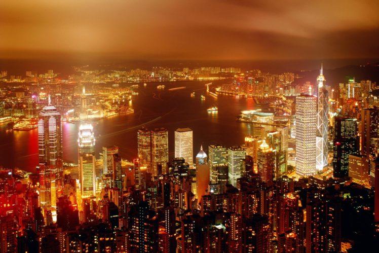 cityscape, Building, Lights, Hong Kong HD Wallpaper Desktop Background
