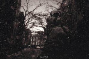 gas masks, Sepia, Survival