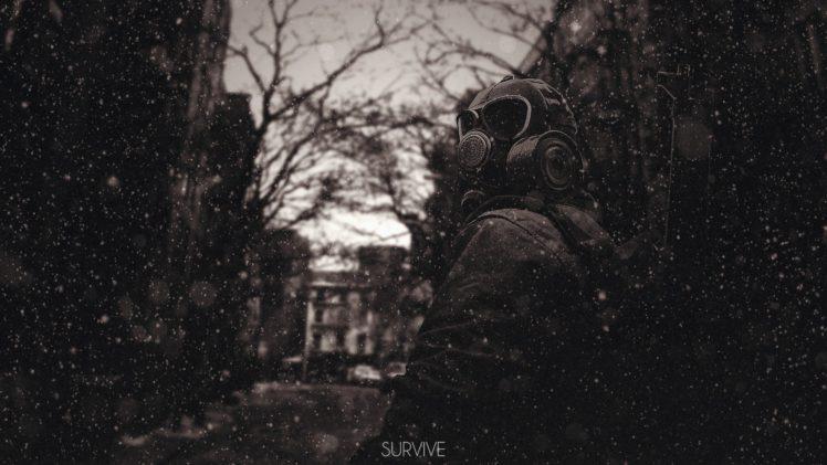 gas masks, Sepia, Survival HD Wallpaper Desktop Background