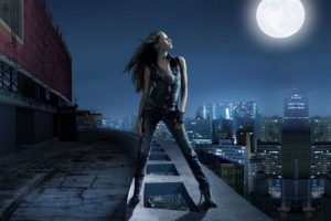 cityscape, City, Jeans, Bodysuit, Gloves, Moon