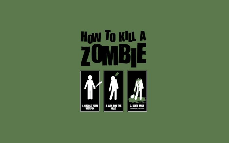 anime, Zombies, Minimalism, Simple background, Typography, Humor, Green background HD Wallpaper Desktop Background