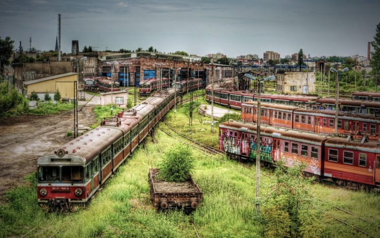 apocalyptic, Train station, Train, HDR, Poland, Abandoned HD Wallpaper Desktop Background