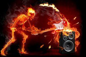 fire, Guitar, Music