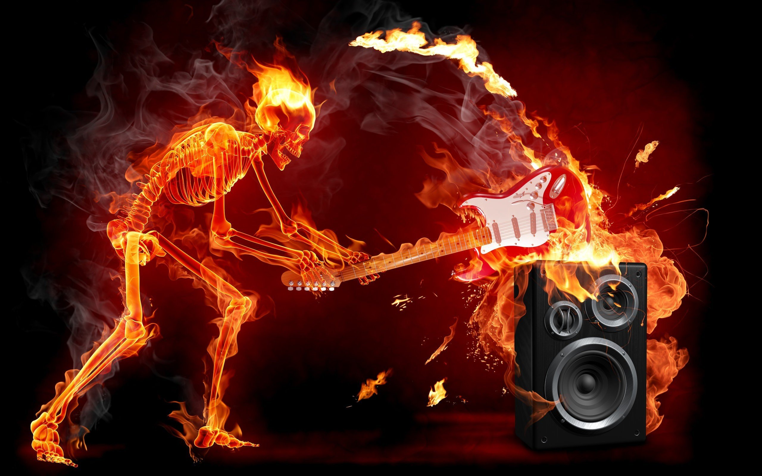 Fire Guitar Music Hd Wallpapers Desktop And Mobile Images Photos