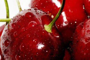 closeup, Cherries, Water drops