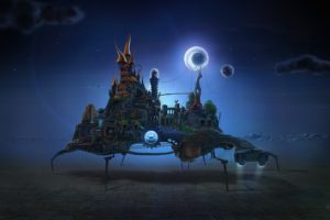 David Fuhrer, Night, Moon, Castle, Gears, Waterfall, Stairs, Surreal