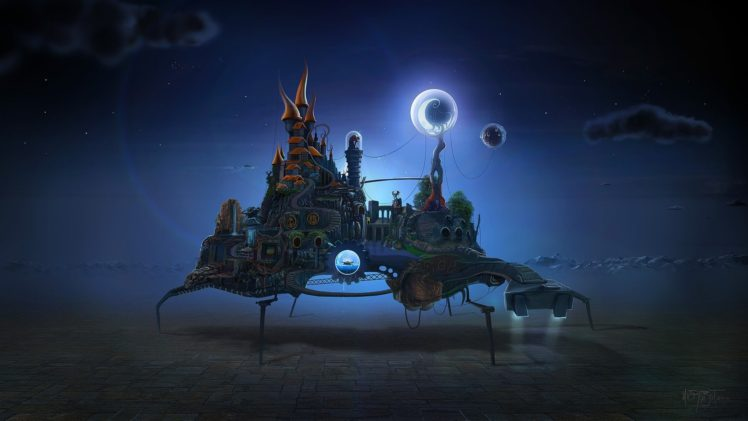 David Fuhrer, Night, Moon, Castle, Gears, Waterfall, Stairs, Surreal HD Wallpaper Desktop Background