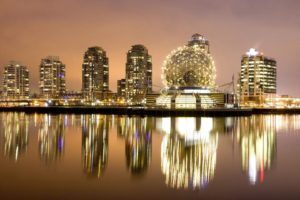 cityscape, Building, Reflection, Lights, Vancouver