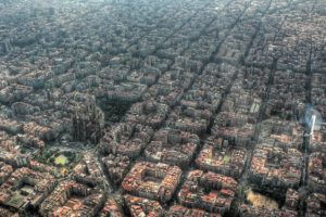 Barcelona, City, Aerial view, Church, Building, Spain