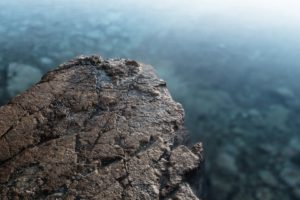 depth of field, Rock, Water