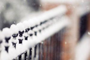 depth of field, Snow, Fence