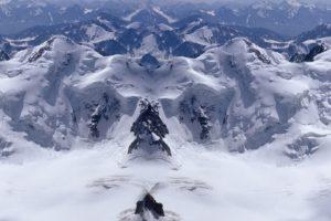 mountain, Snow, Mirrored
