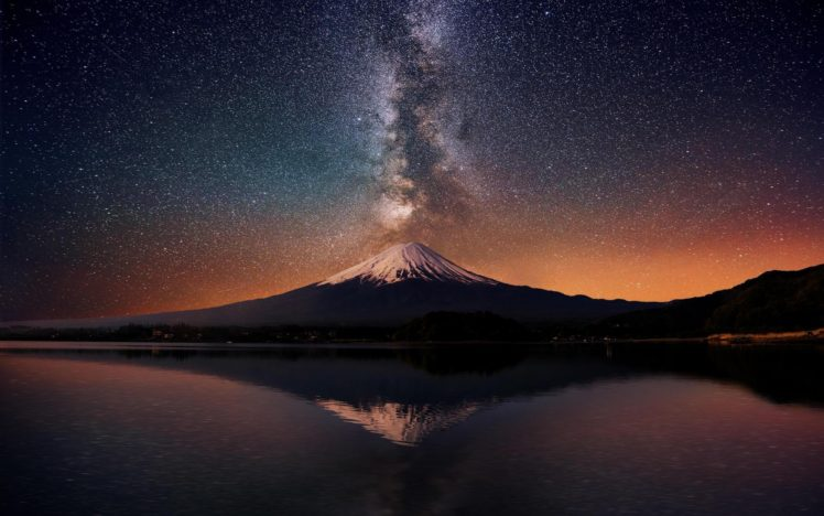 Mount Fuji Japan Milky Way Hd Wallpapers Desktop And