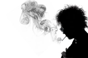 Bob Dylan, Silhouette, Musicians, Smoking, White background
