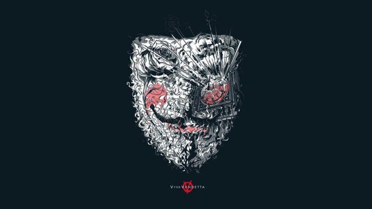 smiling, V for Vendetta, Simple background HD Wallpaper Desktop Background
