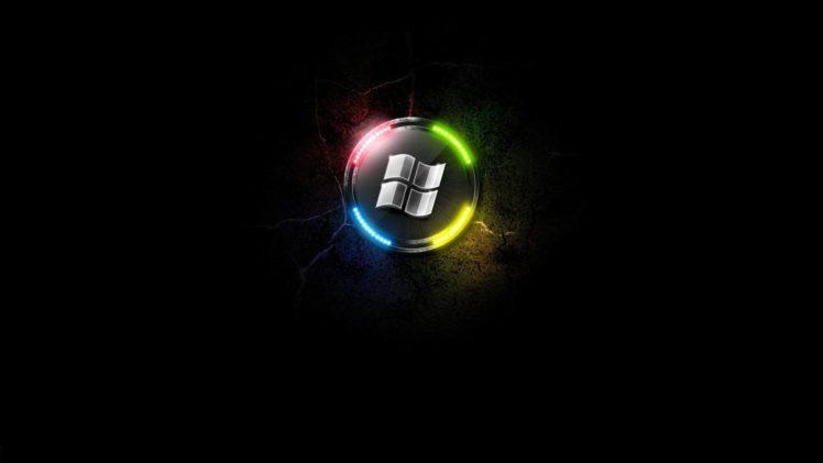 minimalism, Glowing, Microsoft Windows, Black background, Logo HD Wallpaper Desktop Background