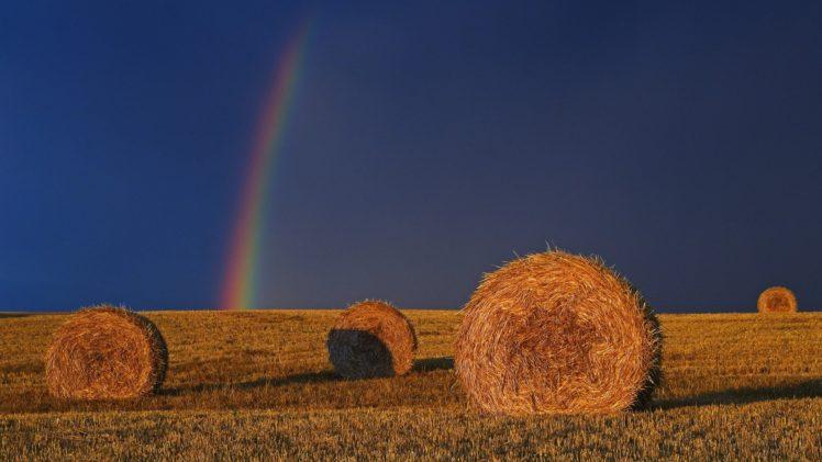 rainbows, Haystacks, Field, Sunlight HD Wallpaper Desktop Background