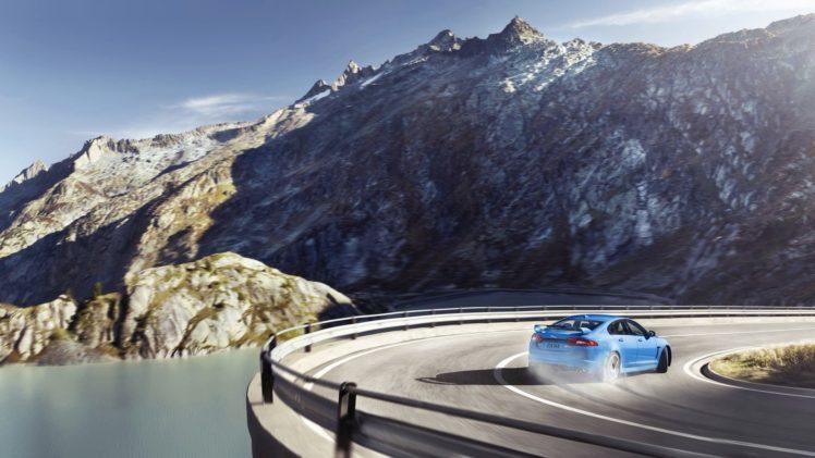 Jaguar XFR S, Drift, Mountain HD Wallpaper Desktop Background