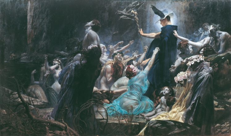 Painting Adolf Hiremy Hirschl Hermes Death Mythology