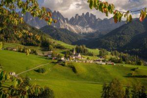 village, Hill, Valley, Mountain
