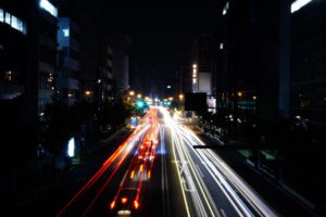 night, Tokyo, Long exposure, Light trails, Road
