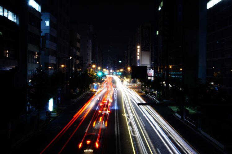 night, Tokyo, Long exposure, Light trails, Road HD Wallpaper Desktop Background