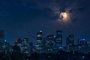 dusk, Moon, Cityscape