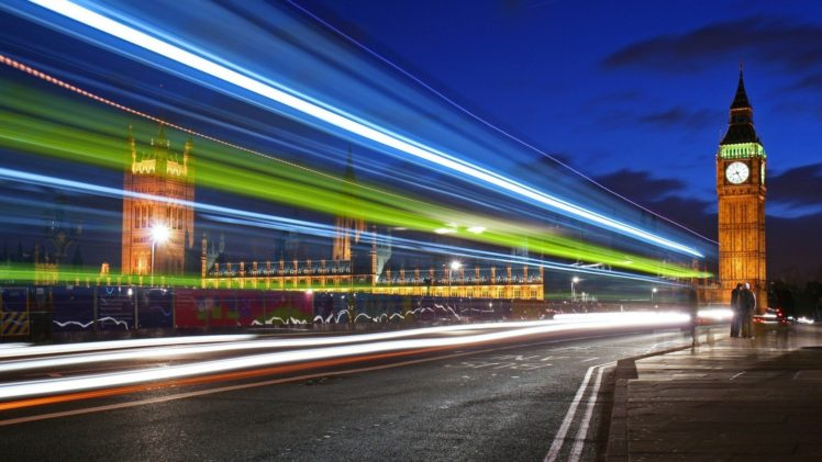 Cityscape London Big Ben Road Lights England Clocktowers Long