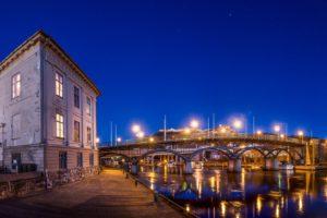Norway, Dusk, Halden, Bridge, Street light, Pier
