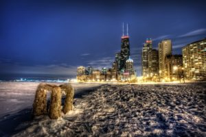 cityscape, HDR, Snow, Building, Lights, Chicago, USA