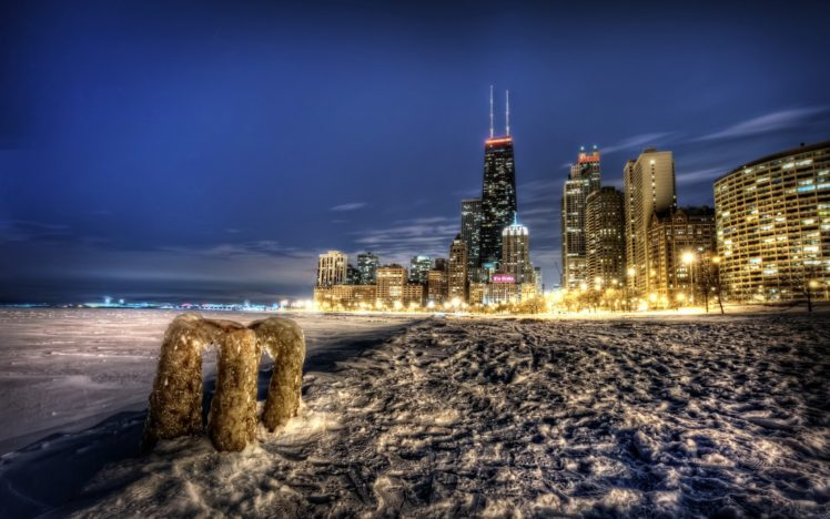 cityscape, HDR, Snow, Building, Lights, Chicago, USA HD Wallpaper Desktop Background