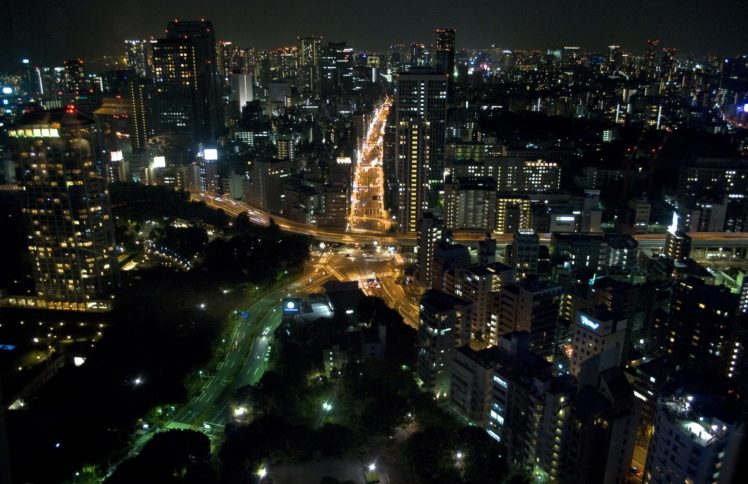 Asia Japan Tokyo Cityscape Night Lights HD Wallpaper Desktop Background