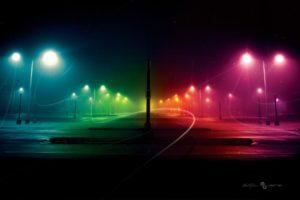 night, Rainbows, Colorful, Street