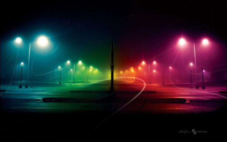 night, Rainbows, Colorful, Street HD Wallpaper Desktop Background