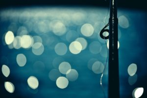 bokeh, Blue, Fishing rod