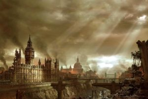 apocalyptic, City, Building, Ruin, Sun rays, London
