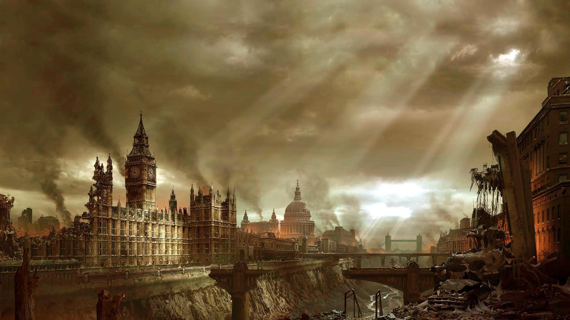 apocalyptic, City, Building, Ruin, Sun rays, London Wallpaper