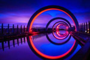 Scotland, Falkirk Wheel, Reflection, Architecture, Night, UK