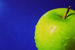 apples, Blue background, Water drops