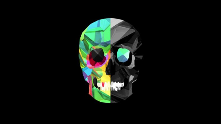 Facets, Justin Maller, Skull, Black background HD Wallpaper Desktop Background
