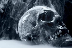 monochrome, Skull, Smoke